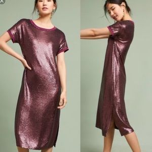 Anthropologie sequined holiday mauve dress
